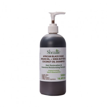 African Black Soap, ARGAN OIL, +SHEA BUTTER& COCONUT OIL SHAMPOO HAIR RESTORATION & INTENSIVE MOISTURSING FORMULA, 500ml