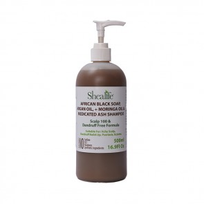 African Black Soap, ARGAN OIL, + MORINGA OIL & MEDICATED ASH SCALP 100 &  DANDRUFF FREE FORMULA 500ml