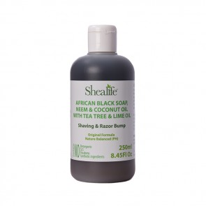 African Black Soap, NEEM & COONUT OIL WITH TEA TREE & LIME OIL. Shaving & Razor Bump Formula, 250ml